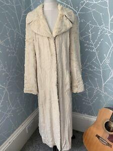COAST Beige Cream Faux Fur Full Length Warm Winter Coat UK 12 Stunning Stylish