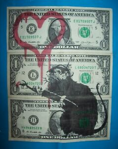 Original $1 One Dollar Bank Note un signed + Free Banksy Dismaland flyer