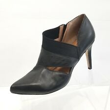 Corso Como Womens Black Leather Bootie Cutout Heels Pointed Toe Size 10M