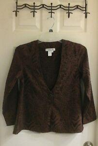 Coldwater Creek, brown blazer, women's size petite XS, polyester animal print