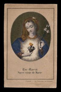 holy card S.COEUR DE MARIE engraving handpainted 19th.