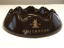 Vintage Whitbread Cigar Ashtray Ceramic British Brewery Breweriana Beer Brown