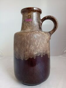 West German Large Vase 408-40 by Scheurich, Brown, With Handle - B11