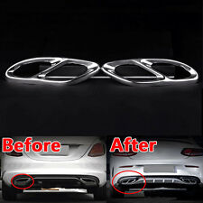 2x Car Exhause air filter 2 TO 4 Cover Trim Fit For Benz C-Class W205 2015 2016