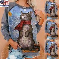 Womens Cat Printed Tops Pullover Jumper Ladies Long Sleeve Blouse Sweatshirt US