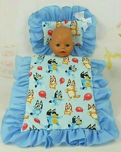 DOLLS~BLUEY~BALLOONS~BLUE PILLOW & QUILT COVER SET~FOR BED~COT~PRAM~CRADLE