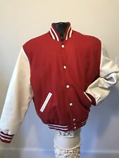 Stewart & Strauss Red Wool White Leather Bomber Varsity Letterman Jacket