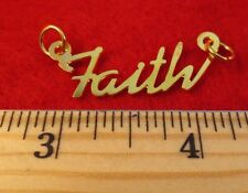 "14KT GOLD EP ""FAITH"" PERSONALIZED NAME PLATE WORD CHARM PENDANT 6137"