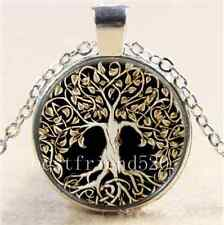 Metal Tree of Life Glass Cabochon Tibet Silver Chain Pendant  Necklace