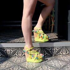 Irregular Choice Bee Kini (A) Yellow Open Toe Platform Wedges Sandals Shoes