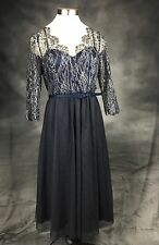 BHLDN Va Et Vien Dress Sapphire Blue Metallic Lace Fit & Flare Cocktail Size 14