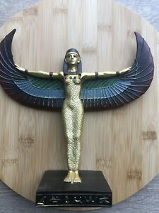 Decorative Gold Egyptian Winged Standing Isis Figurine Statue Ornament Gift