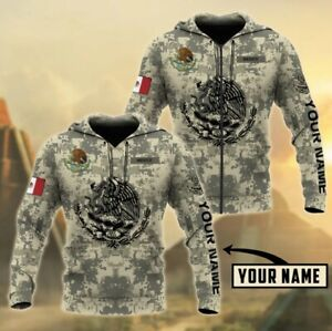 Custom Name Mexico Coat of Arms Eagle Mexican Pride Hoodie For Men Unisex Hoodie
