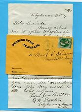 1870 WESTERN UNION TELEGRAPH COVER LETTER  WU STAMP TOBYHANNA MILLS PA G H STANT