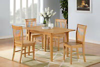 3-PC RECTANGULAR DINETTE KITCHEN TABLE w/2 WOOD SEAT CHAIRS IN LIGHT OAK FINISH