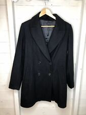 Zara Black Double Breasted Coat Formal Work Winter Smart XL (16)