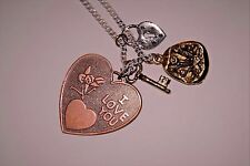 """Friendship Necklace Bronze Charm New 18"""" Love Hearts Necklaces Lock & Key"""