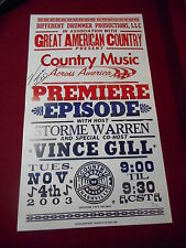VINCE GILL SIGNED GAC HATCHPRINT POSTER JSA AUTHENTICATED I STILL BELIEVE IN YOU