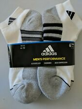 Adidas Men's Cushioned Low Cut Ankle Socks 6 Pairs Gray White Compression 6-12
