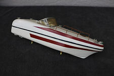 """Wood Toy Model Ship Motor Boat Clean Basic Rustic Simple White Red LaRGE 16"""""""