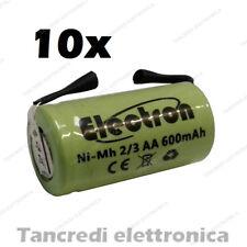10 BATTERIE RICARICABILI NiMh 2/3AA 600mAh 1.2V con lamelle linguette a saldare