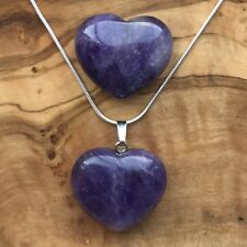 Amethyst Heart Necklace and Heart Gift Set Calming Meditation Confidence Love