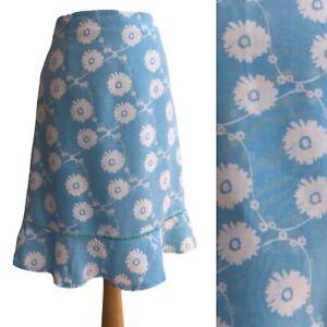 CREW CLOTHING Blue White Floral Daisy Linen Summer Skirt - UK 14