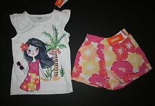 New Gymboree Beach Girl Tee Top & Floral Culotte Shorts Set 6 Fruit Punch Line