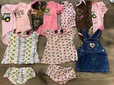 John Deere Tractor Farm Girls Size 00 Lot Bundle Dress Romper Bodysuit Overall