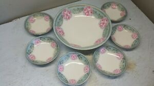 BERRY SET  7 PC.    DECORATED  w/PEONIES       R S GERMANY