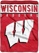 Wisconsin Badgers Plush Raschel Throw/Blanket - Choose Design