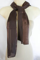 New Women Long Neck Tie Scarf Wrap Casual Fabric Soft Shiny Dressy Brown Stripes