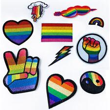 Orgullo Gay Arco Iris redondo sonriente cara Smiler Hierro En Parche Bolsas Ropa Jeans