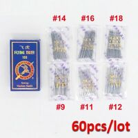 60 Home Sewing Machine Needles HAX1 15X1 Ball Point Flat Shank #9,11,12,14,16,18
