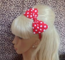 "NEW BIG 5"" SIDE BOW COTTON POLKA DOT SPOT ALICE HAIR BAND HEADBAND 50s GLAMOUR"