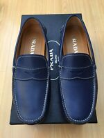 NEW PRADA MENS SHOES BLUE LEATHER LOAFERS DRIVERS UK 6.5 40.5