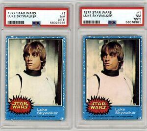 1977 Topps Star Wars Luke Skywalker #1 PSA 7 ST Two Card Lot Clean Wax & Regrade