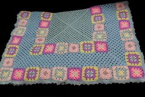 Vtg Pink & Purple Baby Rose Flower Afghan Coverlet Crocheted