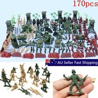 170 pcs Military Toy Soldier Green Army Men Figures & Accessories Playset