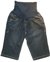 Get Used by Lexi Womens Maternity Shorts Large Denim Bermudas Belly Band Pockets