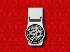 CHINESE DRAGON ASIAN ORIENTAL BLACK WHITE METAL STAINLESS STEEL CARD MONEY CLIP