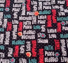 Love Hope Pray Denise Urban Quilting Treasures BTY Words Flowers Dots on Black