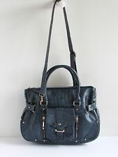 Segolene Paris Gorgeous New Slate Blue Croc Embossed Leather 2-Way Shoulder Bag
