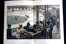 Georges Scott 1898 VELODRONE DE LA SEINE Bicycle Race Racing Lg Color Lithograph