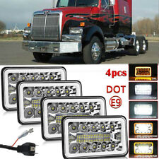 """DOT 4''x6"""" Sealed Halo DRL LED Headlights H4656/4651 For Western Star 4900 Truck"""