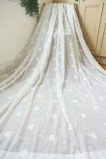 PURE WHITE FINE COTTON EMBROIDERED CURTAINS,102WX88D,SHEER,SHABBY CHIC,+TIES