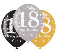 "6pk Gold Celebration 18th Latex Balloons 11"" Birthday Party Decorations"