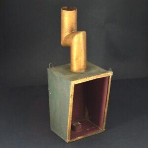 "Vintage Antique Processional Candle Hanging Lamp Metallic Sheet Chimney 13.5"" -e"