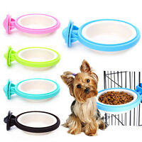 New Pet Feeding Bowl Cage Hanging Dog Cat Puppy Single Food Water Feeder Dish