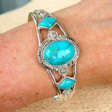 BR109 Bracelet semi-rigide Style Amérindien Argent Massif avec Turquoises